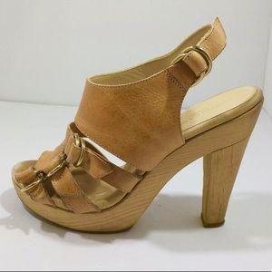 Loeffler Randall leather wood platform heels 7.5